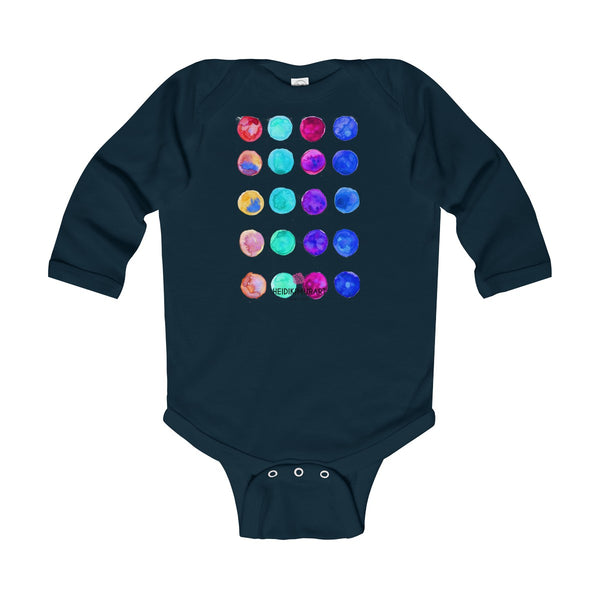 Polka Dots Printed Cute Super Soft Cotton Infant Long Sleeve Bodysuit - Made in UK-Kids clothes-Navy-12M-Heidi Kimura Art LLC
