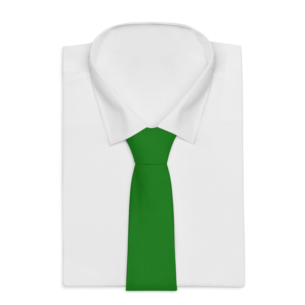 Emerald Green Solid Color Soft Satin Finish Printed Necktie Tie - Made in USA-Necktie-One Size-Heidi Kimura Art LLC