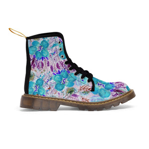 Blue Floral Women's Canvas Boots-Shoes-Printify-Brown-US 9-Heidi Kimura Art LLC Blue Floral Women's Canvas Boots, Flower Rose Print Ladies Fashion Lace-Up Hiking Boots, Best Ladies' Combat Boots, Designer Women's Winter Lace-up Toe Cap Hiking Boots Shoes For Women (US Size 6.5-11)
