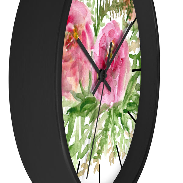 Pink Rose Vintage Style Floral Print Rose Flower 10 inch Diameter Wall Clock-Made in USA-Wall Clock-Heidi Kimura Art LLC