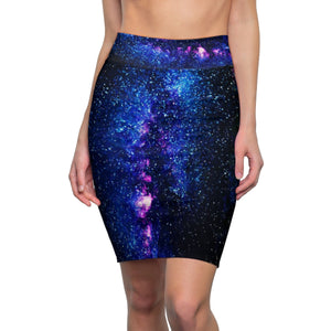 Galaxy Print Designer Women's Pencil Skirt-Made  in USA(US Size: XS-2XL)Galaxy Skirt,Space Skirt,Comfy Skirt,Flattering Skirt,Modern Skirt, Office Skirt,Abstract Print Skirt,Stretch Skit,Classic Skirt Blue Space Galaxy Print Designer Women's Pencil Skirt-Made  in USA (US Size: XS-2XL)
