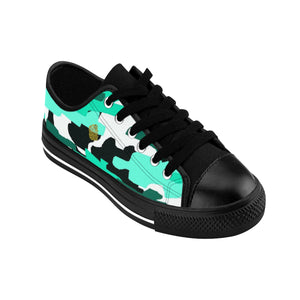 Turquoise Blue Camo Camouflage Military Print Men's Low Top Nylon Canvas Sneakers-Men's Low Top Sneakers-Black-US 9-Heidi Kimura Art LLC