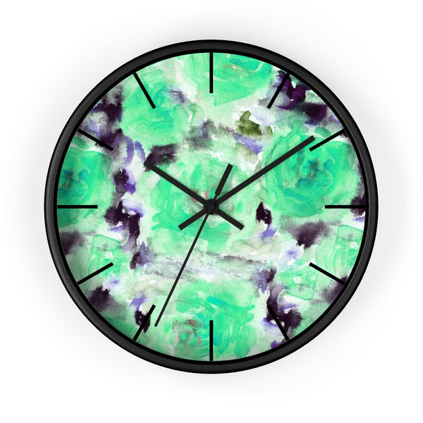 "Turquoise Blue Floral Print Abstract Rose 10"" Diameter Wall Clock - Made in USA-Wall Clock-Black-Black-Heidi Kimura Art LLC"