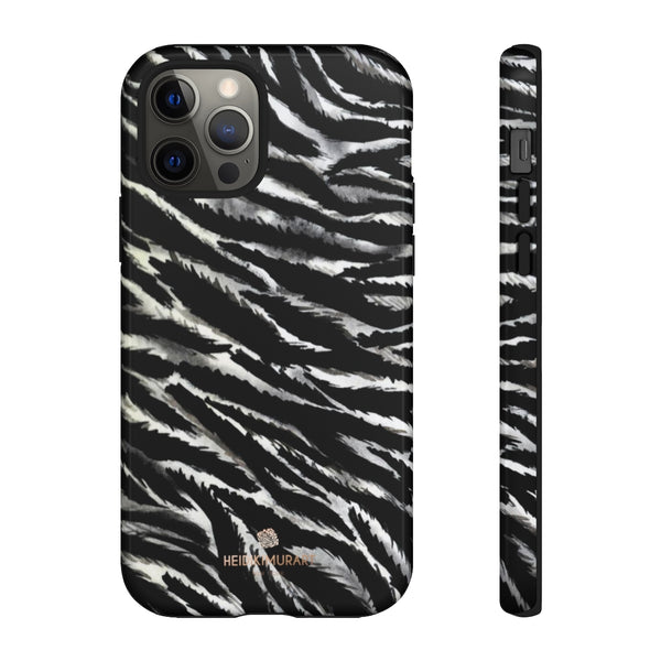 White Tiger Stripe Phone Case, Animal Print Tough Designer Phone Case -Made in USA-Phone Case-Printify-iPhone 12 Pro-Glossy-Heidi Kimura Art LLC