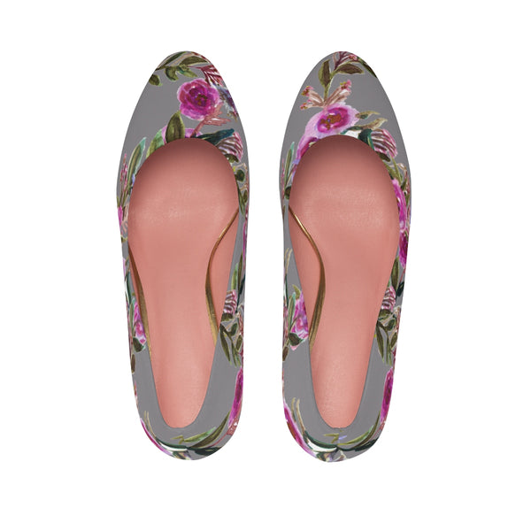 Gray Floral Garden Purple Pink Rose Designer Women's High Heels Canvas Shoes-3 inch Heels-Heidi Kimura Art LLCGray Floral Women's Heels, Gray Floral Garden Purple Pink Rose Designer Women's High Heels Canvas Shoes (US Size: 5-11)