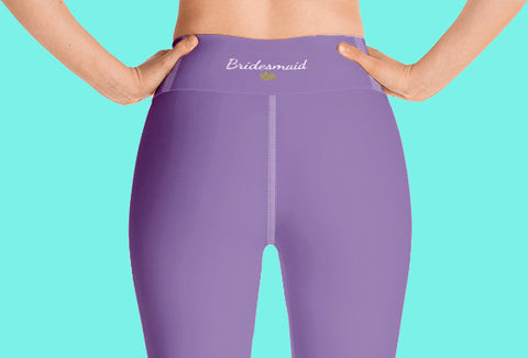 Lavender Pastel Purple Solid Color Bridesmaid Print Yoga Capri Leggings-Made in USA-Capri Yoga Pants-Heidi Kimura Art LLC