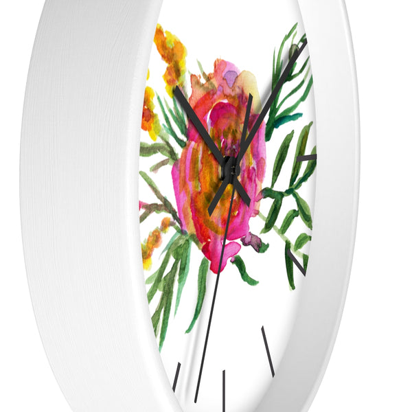 Pink Rose Watercolor Floral Print 10 inch Diameter Flower Wall Clock - Made in USA-Wall Clock-Heidi Kimura Art LLC