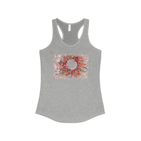 Red Floral Print Women's Racerback Tank Top, Fashionable Tanks- Made in the USA (US Size: XS-2XL)-Tank Top-90/10 Heather Gray-L-Heidi Kimura Art LLC Red Floral Print Tank, Red Orange Autumn Fall Inspired Floral Women's Ideal Racerback Tank - Made in the USA (US Size: XS-2XL)