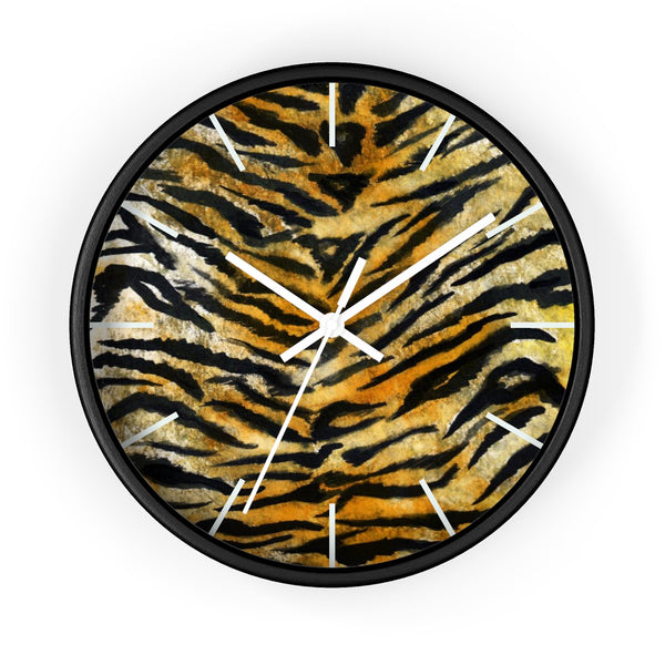 "Stylish Tiger Stripe Faux Fur Pattern Animal Print 10"" Diameter Wall Clock - Made in USA-Wall Clock-Black-White-Heidi Kimura Art LLC"