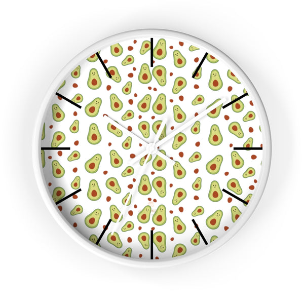 "Avocado Print Large Wall Clocks, 10"" Dia. Clock For Avocado Vegan Lovers- Made in USA-Wall Clock-10 in-White-White-Heidi Kimura Art LLC"