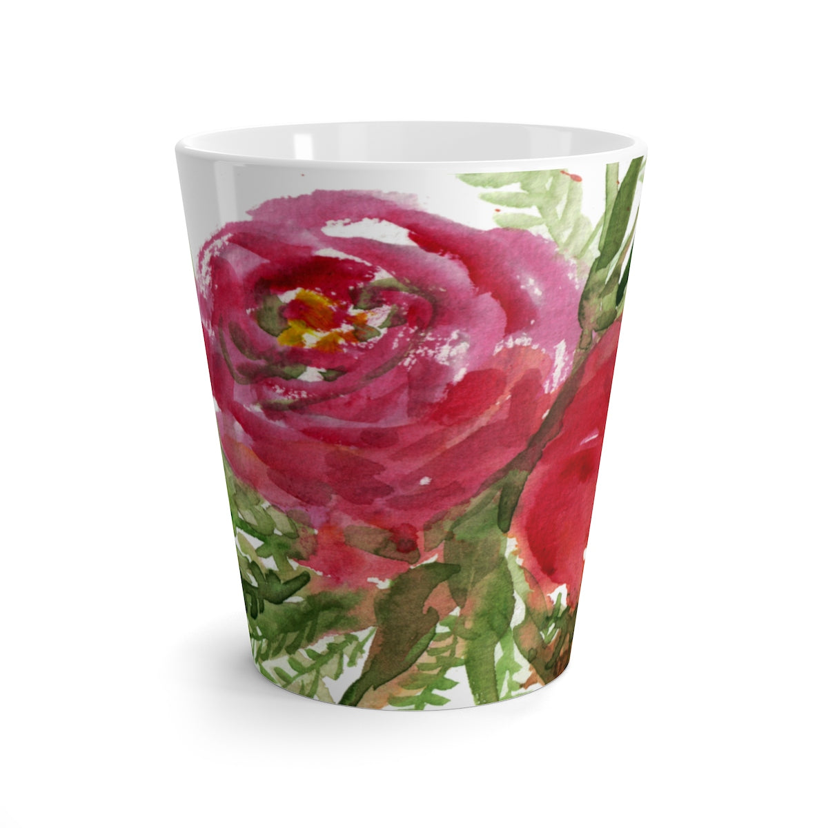 Orange Red Roses Flowers Prosperous Floral Cute 12 oz. Latte Mug - Made in USA-Mug-12oz-Heidi Kimura Art LLC