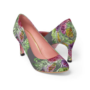 "Light Grey Bridal Wedding Rose Flower Floral Print Women's 3"" High Heels-3 inch Heels-US 7-Heidi Kimura Art LLC"