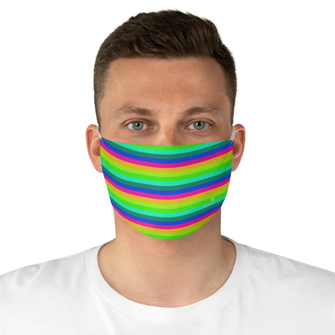 "Colorful Striped Adult Face Mask, Horizontally Stripe Face Mask, Designer Horizontally Stripes Fashion Face Mask For Men/ Women, Designer Premium Quality Modern Polyester Fashion 7.25"" x 4.63"" Fabric Non-Medical Reusable Washable Chic One-Size Face Mask With 2 Layers For Adults With Elastic Loops-Made in USA"