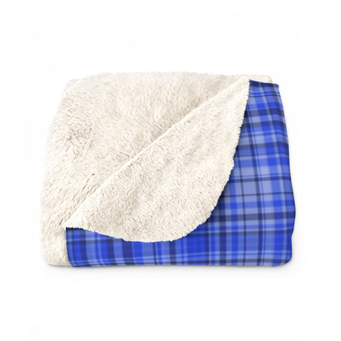 Preppy Blue Plaid Tartan Print Designer Cozy Sherpa Fleece Blanket-Made in USA-Blanket-Heidi Kimura Art LLC