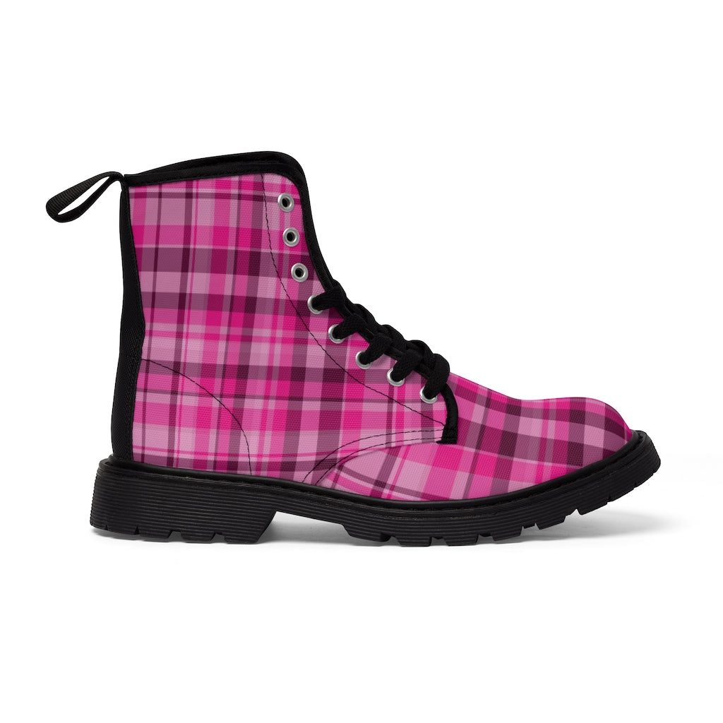 Pink Plaid Print Men's Boots, Best Hiking Winter Boots Laced Up Shoes For Men