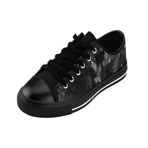Black Zombie Rose Floral Designer Low Top Women's Sneakers Fashion Tennis Shoes-Women's Low Top Sneakers-Heidi Kimura Art LLC Black Abstract Women's Sneakers, Black Zombie Rose Floral Designer Low Top Women's Sneakers Fashion Tennis Shoes (US Size: 6-12)