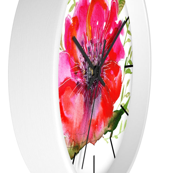 "Pink Hibiscus Floral Print Wall Clock, 10"" Dia. Modern Unique Indoor Clock-Made in USA-Wall Clock-Heidi Kimura Art LLC v Pink Hibiscus Floral Clock, Hot Pink Hibiscus Floral Print 10 inch Diameter Modern Unique Indoor Wall Clock - Made in USA"