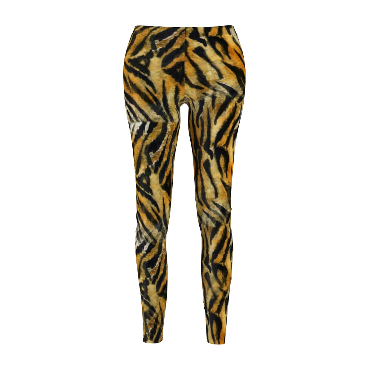 Orange Bengal Tiger Striped Animal Print Women's Casual Leggings - Made in USA-Casual Leggings-M-Heidi Kimura Art LLC