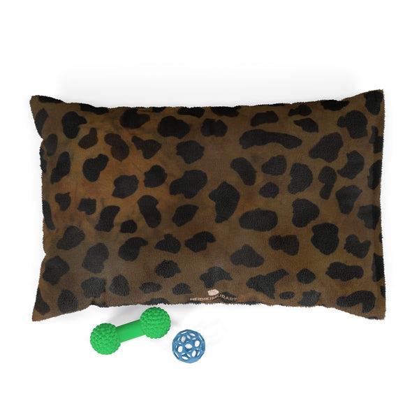 "Brown Leopard Animal Print Deluxe 28""x18"", 40""x30"", 50""x40"" (Large, Medium, Small Size) Pet Bed-Pet Beds-28x18-Heidi Kimura Art LLC"