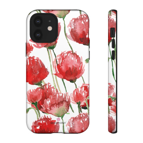 Red Poppy Floral Phone Case, Designer Flower Print iPhone Samsung Tough Phone Cases - Heidikimurart Limited