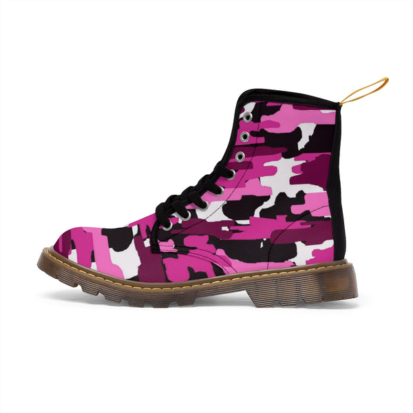 Purple Camo Women's Canvas Boots, Camouflage Military Army Print Winter Boots For Ladies-Women's Boots-Printify-ArtsAdd-Heidi Kimura Art LLC