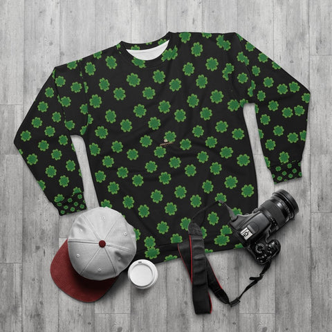 Black St. Patrick's Day Green Clover Print Unisex Cotton Polyester Sweatshirt- Made in USA-Unisex Sweatshirt-Heidi Kimura Art LLC