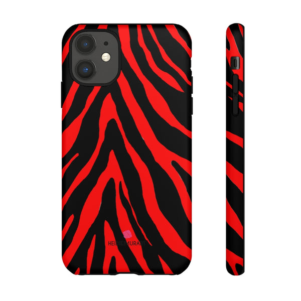 Red Zebra Designer Tough Cases, Animal Print Best Case Mate iPhone Samsung Case-Made in USA