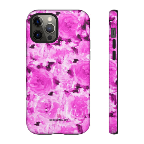 Rose Pink Floral Phone Case, Hot Pink Abstract Flower Print Best Designer Art Designer Case Mate Best Tough Phone Case For iPhones and Samsung Galaxy Devices-Made in USA