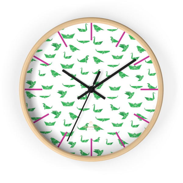 "White Green Japanese Crane Print Large Unique 10"" Diameter Wall Clocks- Made in USA-Wall Clock-10 in-Wooden-Black-Heidi Kimura Art LLC"
