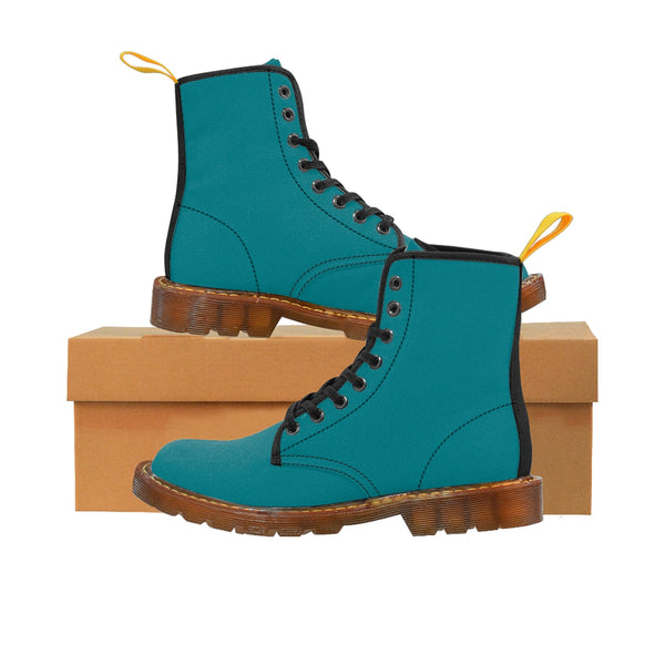 Blue Teal Classic Solid Color Designer Comfy Women's Winter Lace-up Toe Cap Boots-Women's Boots-Heidi Kimura Art LLC
