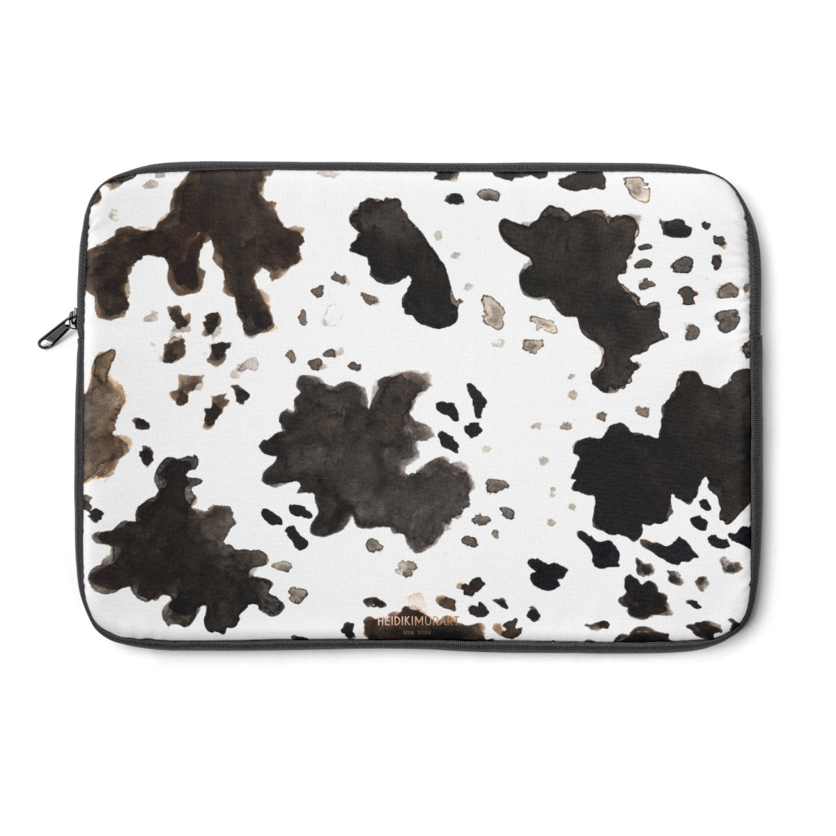 "Milk Cow Animal Print 12"", 13"", 14"" Laptop Sleeve With Top Loading Zipper-Made in USA-Laptop Sleeve-13""-Heidi Kimura Art LLC"