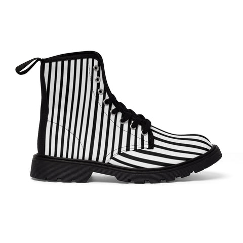 Black Striped Women's Canvas Boots, Vertical Stripes Print Winter Boots For Ladies-Shoes-Printify-Heidi Kimura Art LLC Black Striped Women's Canvas Boots, Modern White Black Stripes Hiking Boots, Casual Fashion Gifts, High Fashion Combat Boots Shoes, Designer Women's Winter Lace-up Toe Cap Hiking Boots Shoes For Women (US Size 6.5-11)