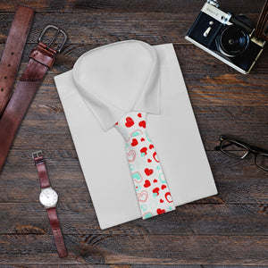 White Red Heart Shaped Print Valentine's Day Romantic Lover's Necktie- Made in USA-Necktie-One Size-Heidi Kimura Art LLC