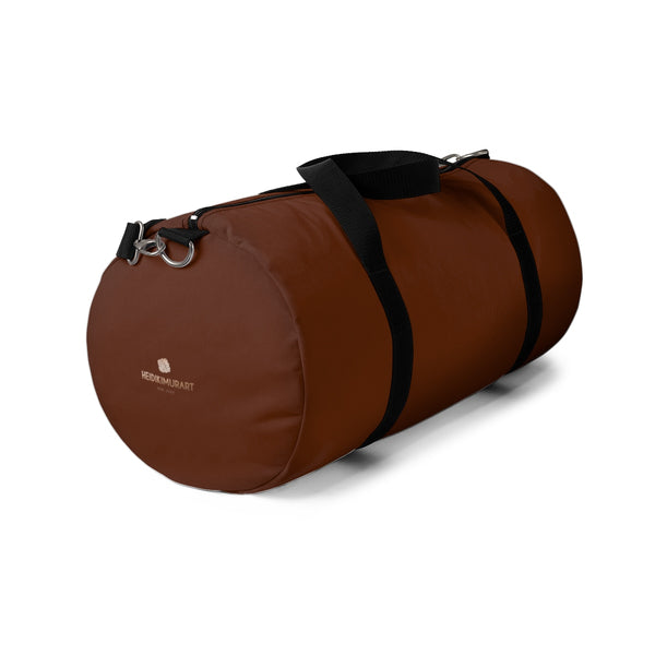 Cowboy Brown Solid Color All Day Small Or Large Size Duffel Bag, Made in USA-Duffel Bag-Heidi Kimura Art LLC