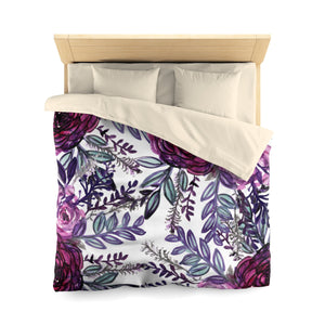 Purple Pink Floral Rose Comfy 100% Polyester Microfiber Duvet Cover- Made in USA-Duvet Cover-Queen-Cream-Heidi Kimura Art LLC