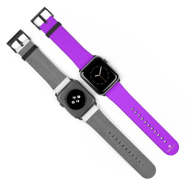 Purple Solid Color Print 38mm/42mm Watch Band For Apple Watches- Made in USA-Watch Band-Heidi Kimura Art LLC