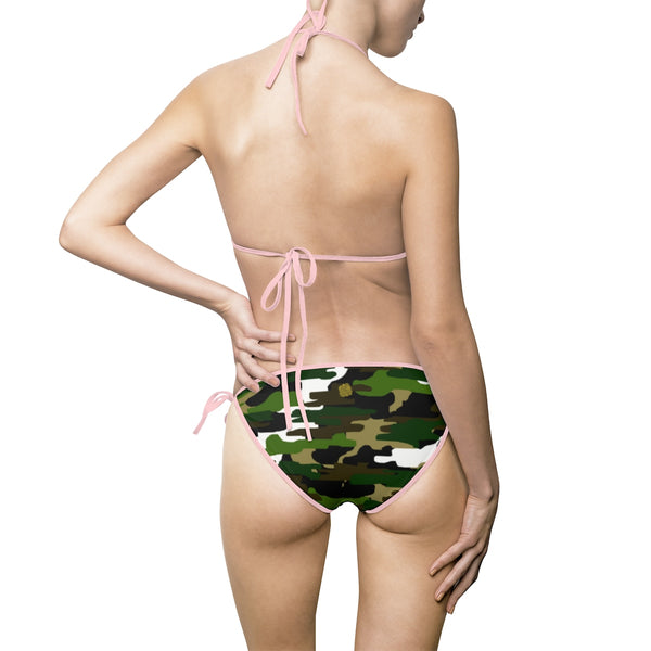 Green Camouflage Camo Military Army Print Designer Women's Bikini Swimsuit Set-Bikini-Heidi Kimura Art LLC
