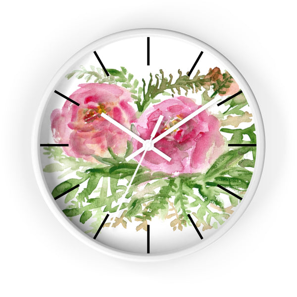 Pink Rose Vintage Style Floral Print Rose Flower 10 inch Diameter Wall Clock-Made in USA-Wall Clock-White-White-Heidi Kimura Art LLC