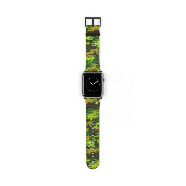 Green Brown Camo Military Print 38mm/42mm Watch Band For Apple Watch- Made in USA-Watch Band-42 mm-Black Matte-Heidi Kimura Art LLC