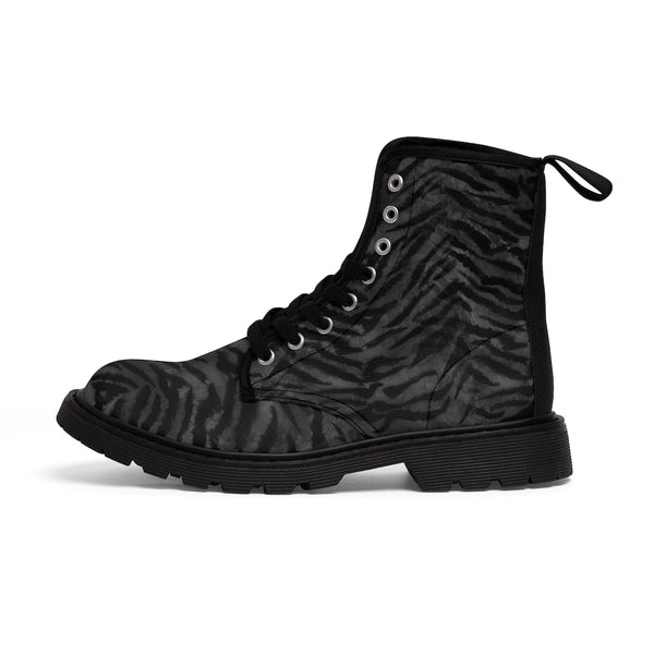 Kanagawa Black Tiger Stripe Pattern Designer Women's Winter Lace-up Toe Cap Boots-Women's Boots-Black-US 9-Heidi Kimura Art LLC