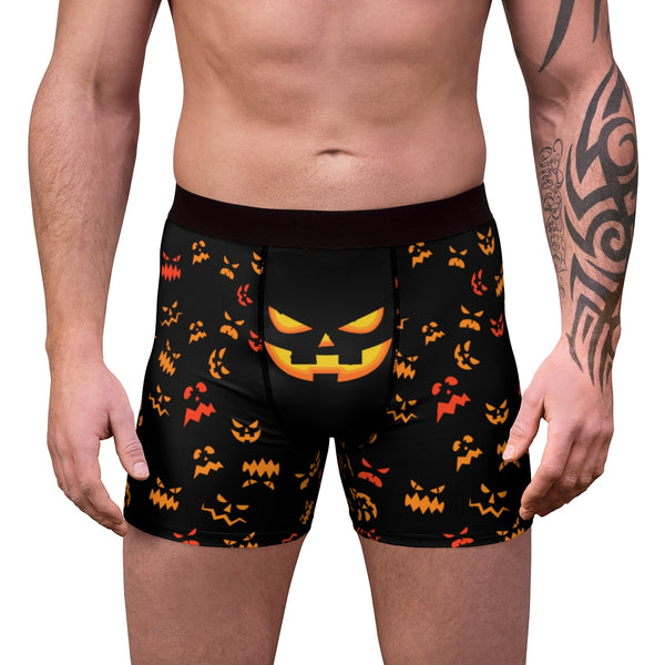 Black Orange Pumpkin Face Halloween Erotic Men's Boxer Briefs Undewear (US Size: XS-3XL)-Men's Underwear-Heidi Kimura Art LLC Black Pumpkin Face Men's Underwear, Black Orange Pumpkin Face Designer Halloween Gay Men's Soft Fleece-Lined Boxer Briefs (US Size: XS-3XL) Halloween Men's Underwear, Black Pumpkin Face Men's Underwear, Black Orange Pumpkin Face Designer Halloween Gay Men's Soft Fleece-Lined Boxer Briefs (US Size: XS-3XL)