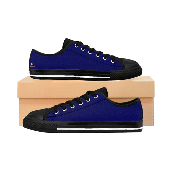 Navy Blue Solid Color Designer Low Top Women's Sneakers (US Size: 6-12)-Women's Low Top Sneakers-US 10-Heidi Kimura Art LLC
