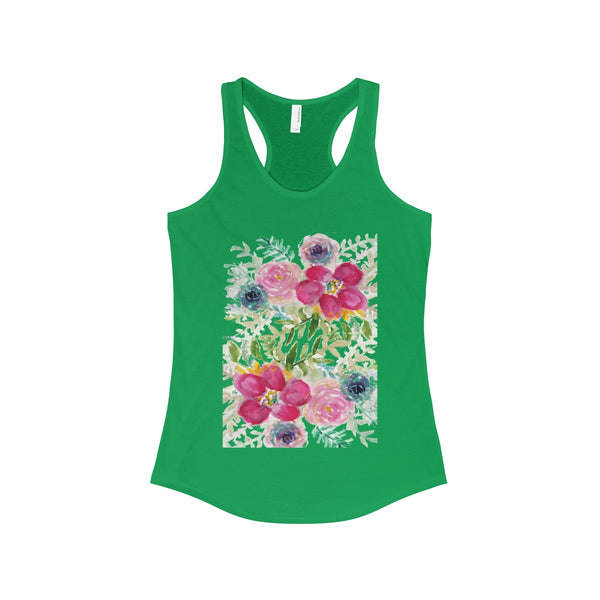 Pink Rose Bouquet Floral Print Women's Ideal Racerback Tank - Made in USA-Tank Top-Solid Kelly Green-XS-Heidi Kimura Art LLC