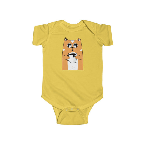 Orange Cat Loves Coffee Infant Fine Jersey Regular Fit Unisex Bodysuit - Made in UK-Infant Short Sleeve Bodysuit-Butter-NB-Heidi Kimura Art LLC