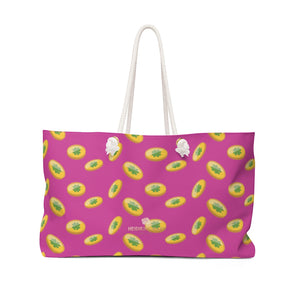 "Hot Pink Green Gold Coins St. Patrick's Day Irish Print 24""x13""Weekender Bag- Made in USA-Weekender Bag-24x13-Heidi Kimura Art LLC"