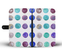 White Nordic Colorful Dots Abstract Watercolor Print Designer Wallet Cell Phone Case - Heidi Kimura Art LLC