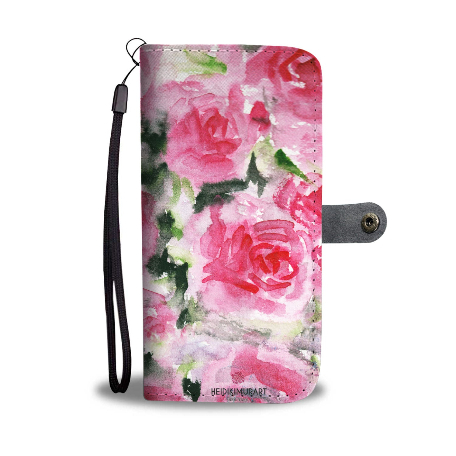 Pink Girlie Floral Pink Rose Abstract Watercolor Designer Wallet Cell Phone Case