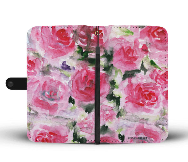 Pink Girlie Floral Pink Rose Abstract Watercolor Designer Wallet Cell Phone Case-Wallet Case-Heidi Kimura Art LLC