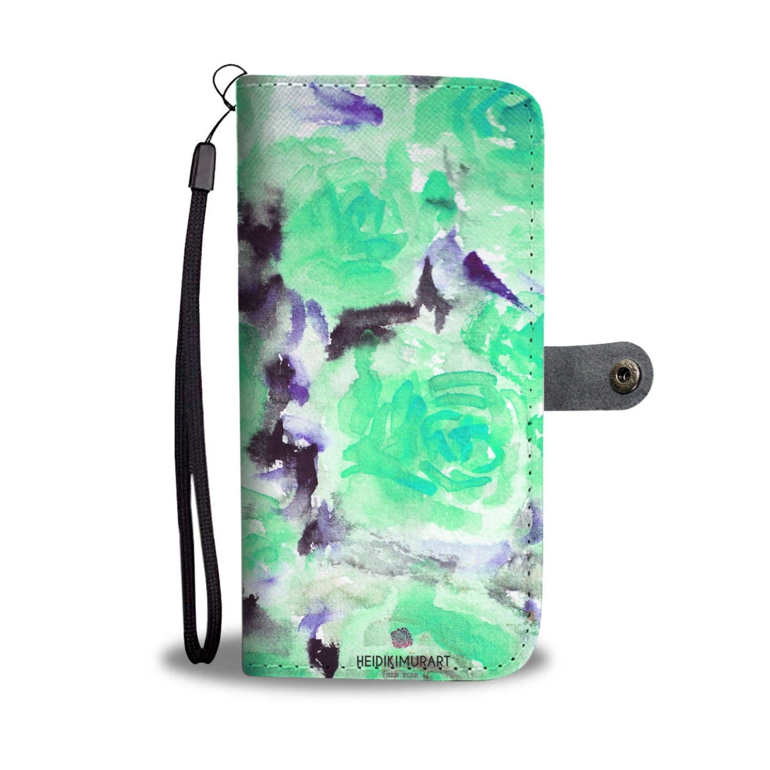 Blue Floral Wallet Phone Case, Turquoise Rose Abstract Watercolor Designer Wallet Case