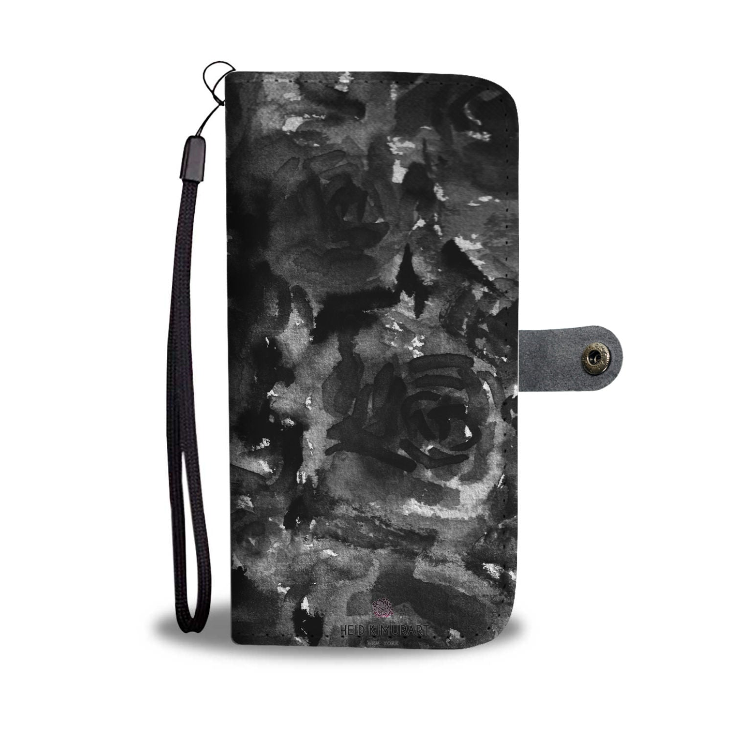 Cool Girlie Floral Print Black Zombie Rose Designer Wallet Phone Case